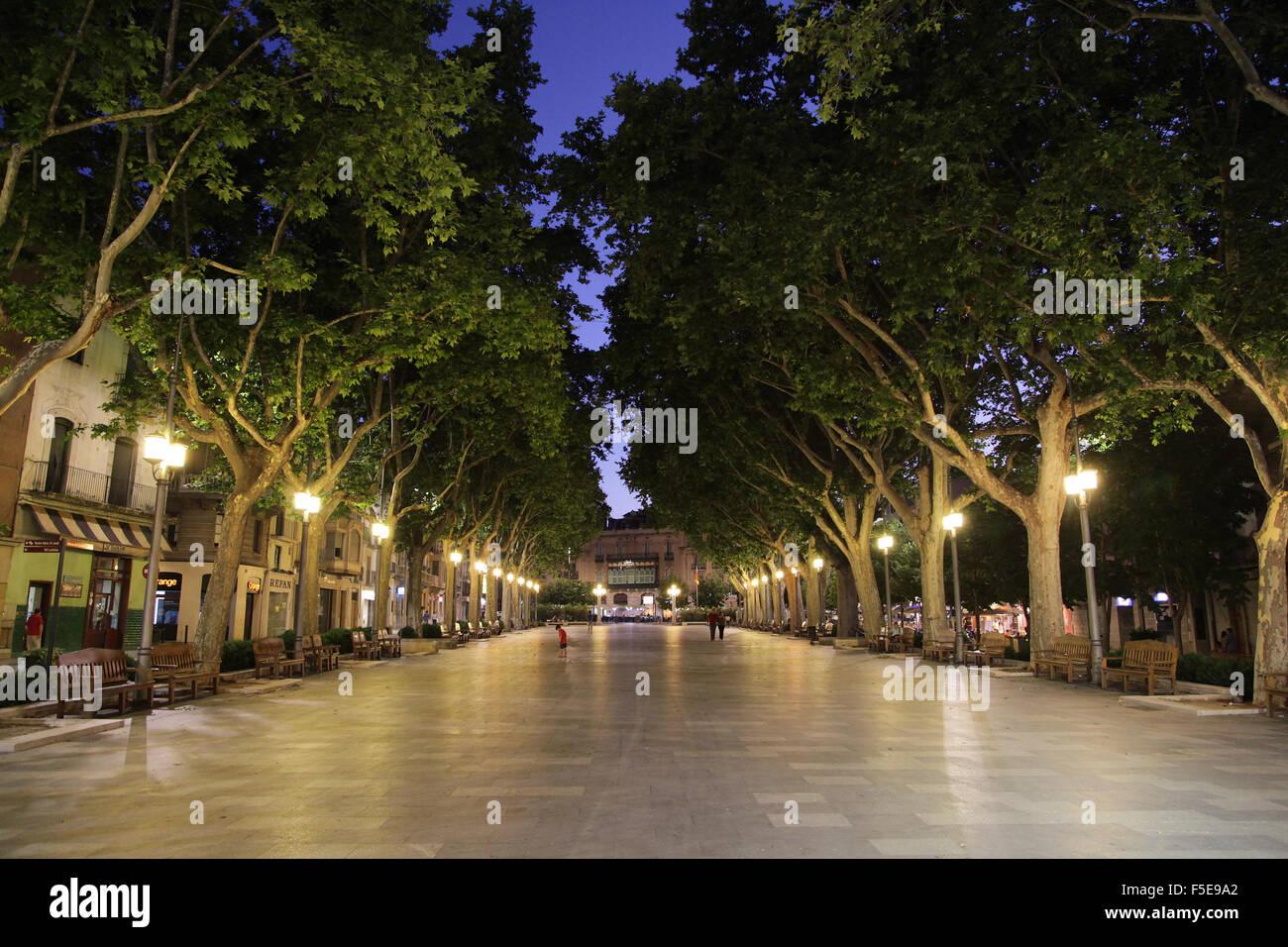 La Rambla Figueres Girona Catalonia Spain - Stock Image