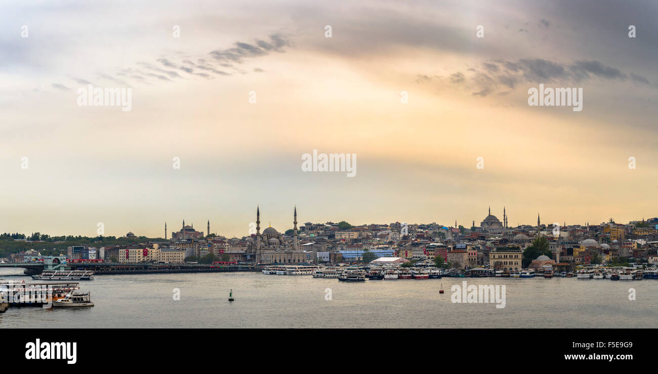 Hagia Sophia and New Mosque seen across Golden Horn at sunset, Istanbul, Turkey, Europe - Stock Image