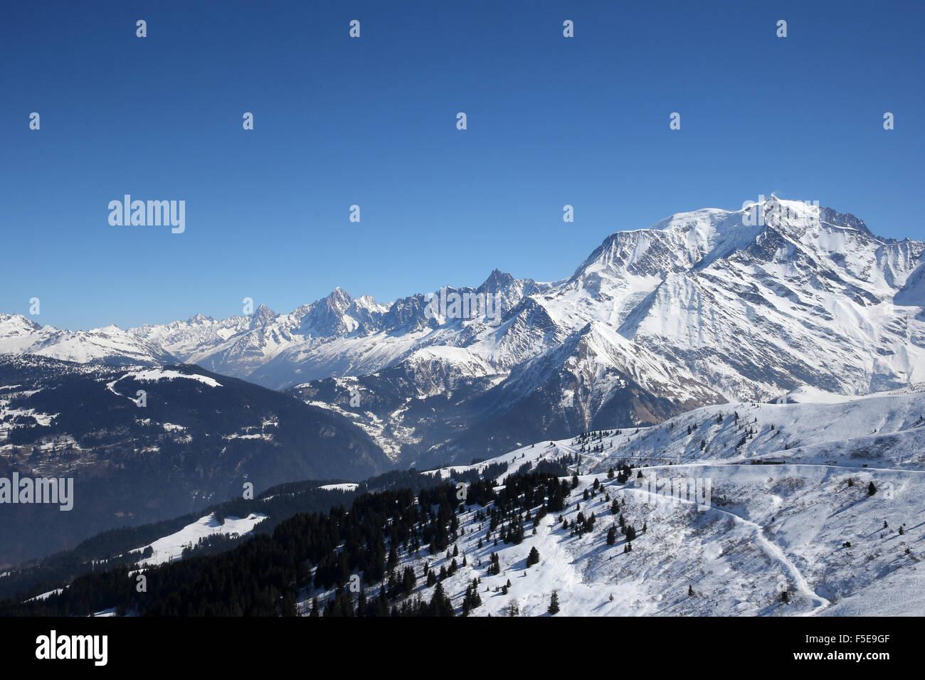 Mont Blanc in Saint-Gervais les Bains, Haute-Savoie, French Alps, France, Europe - Stock Image