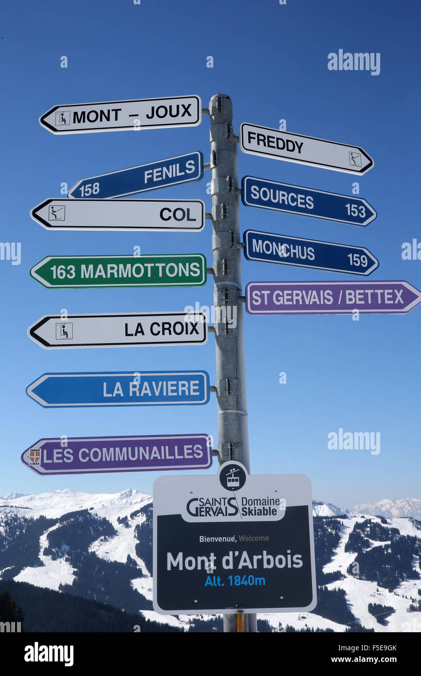 Skiing slope signs in Saint-Gervais les Bains, Haute-Savoie, France, Europe - Stock Image