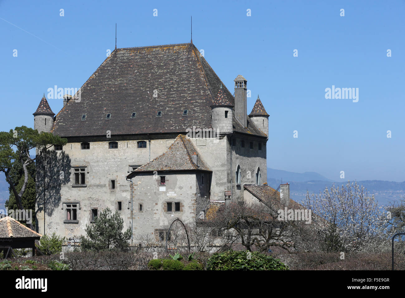 Yvoire, Lake Geneva, the Castle dating from the 14th century, Yvoire, Haute-Savoie, France, Europe - Stock Image
