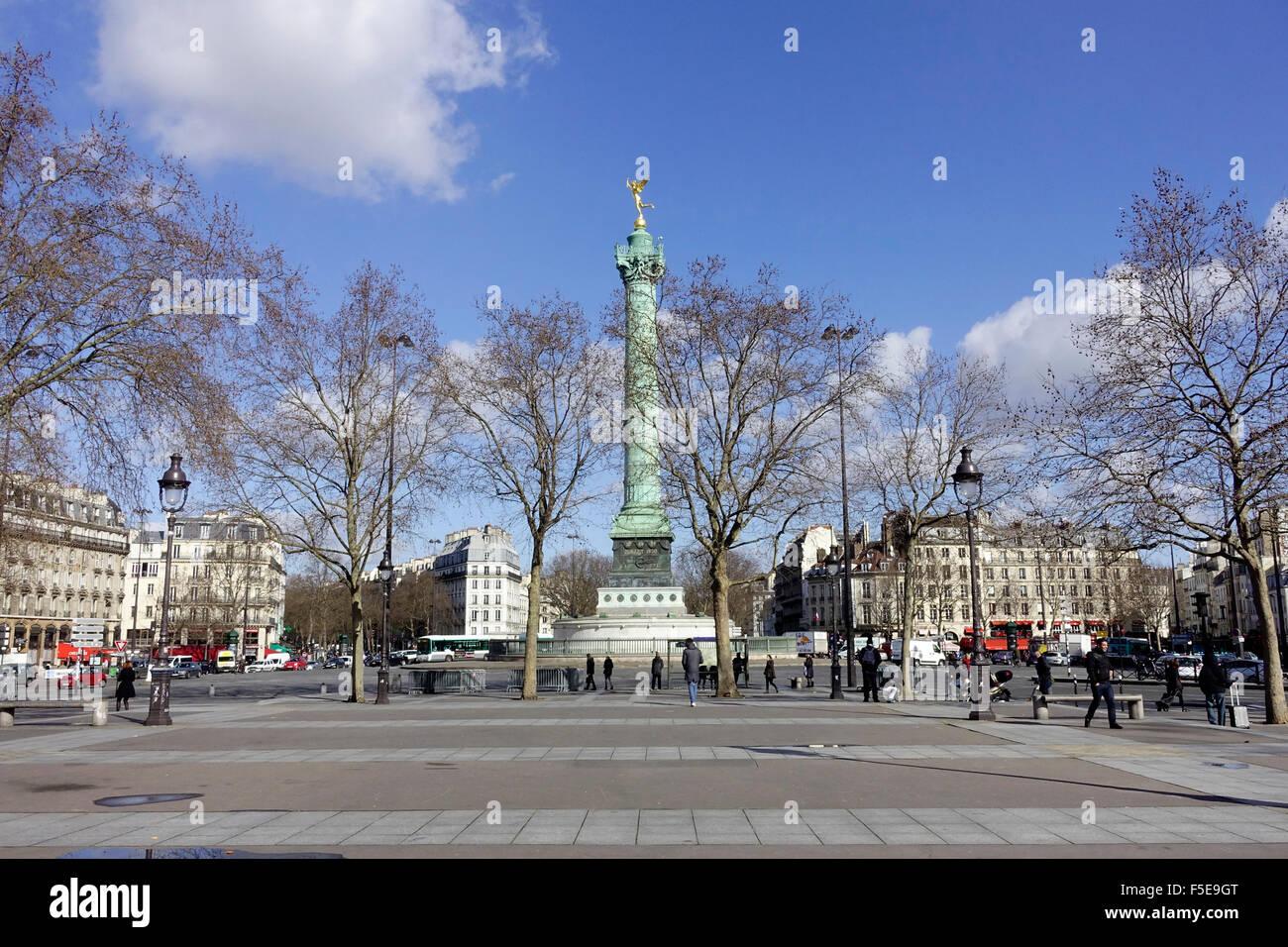 The July Column a monumental column in commemorating the Revolution of 1830 in the Place de la Bastille, Paris, - Stock Image