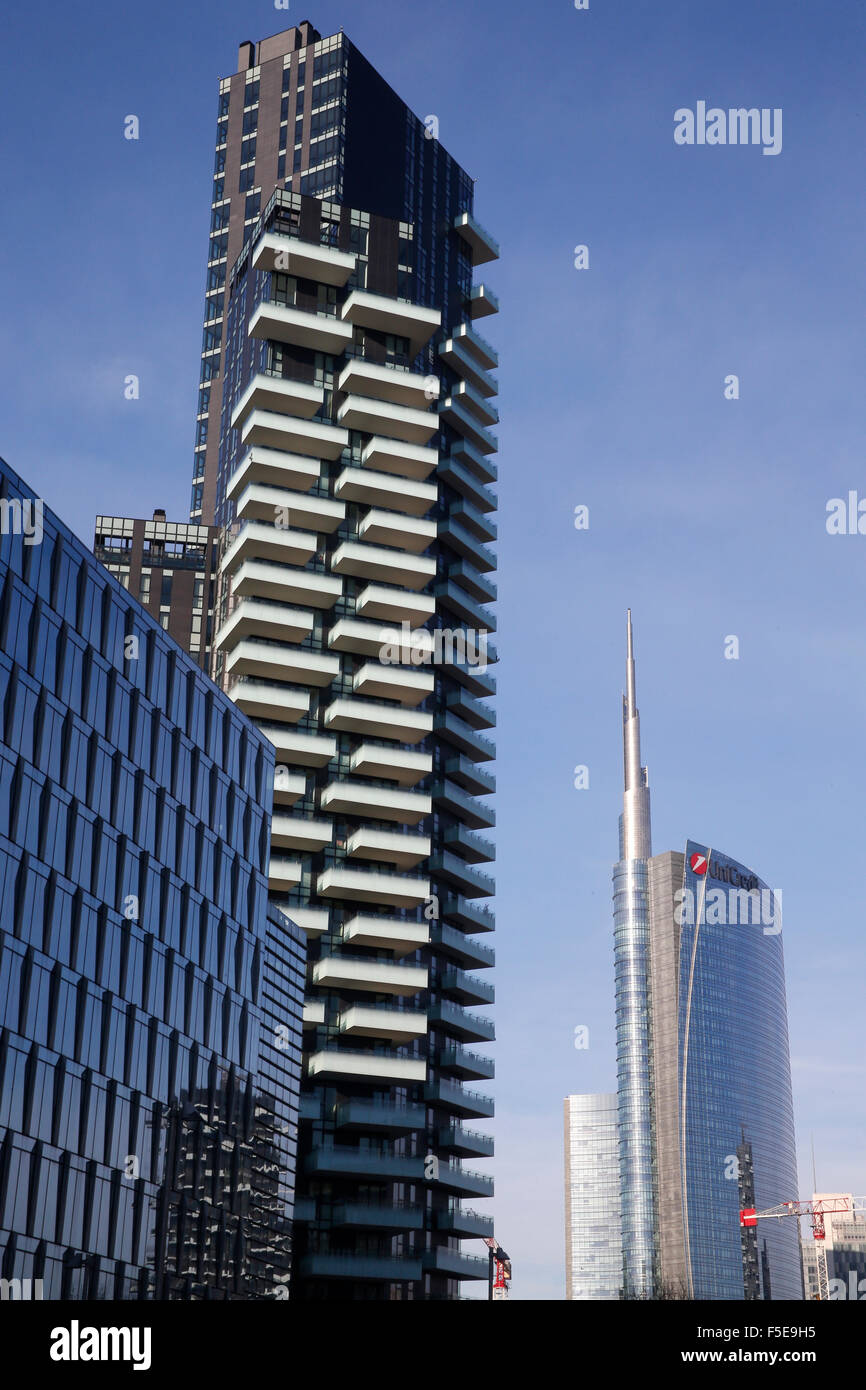 Modern buildings near Porta Nuova, Milan, Lombardy, Italy, Europe Stock Photo