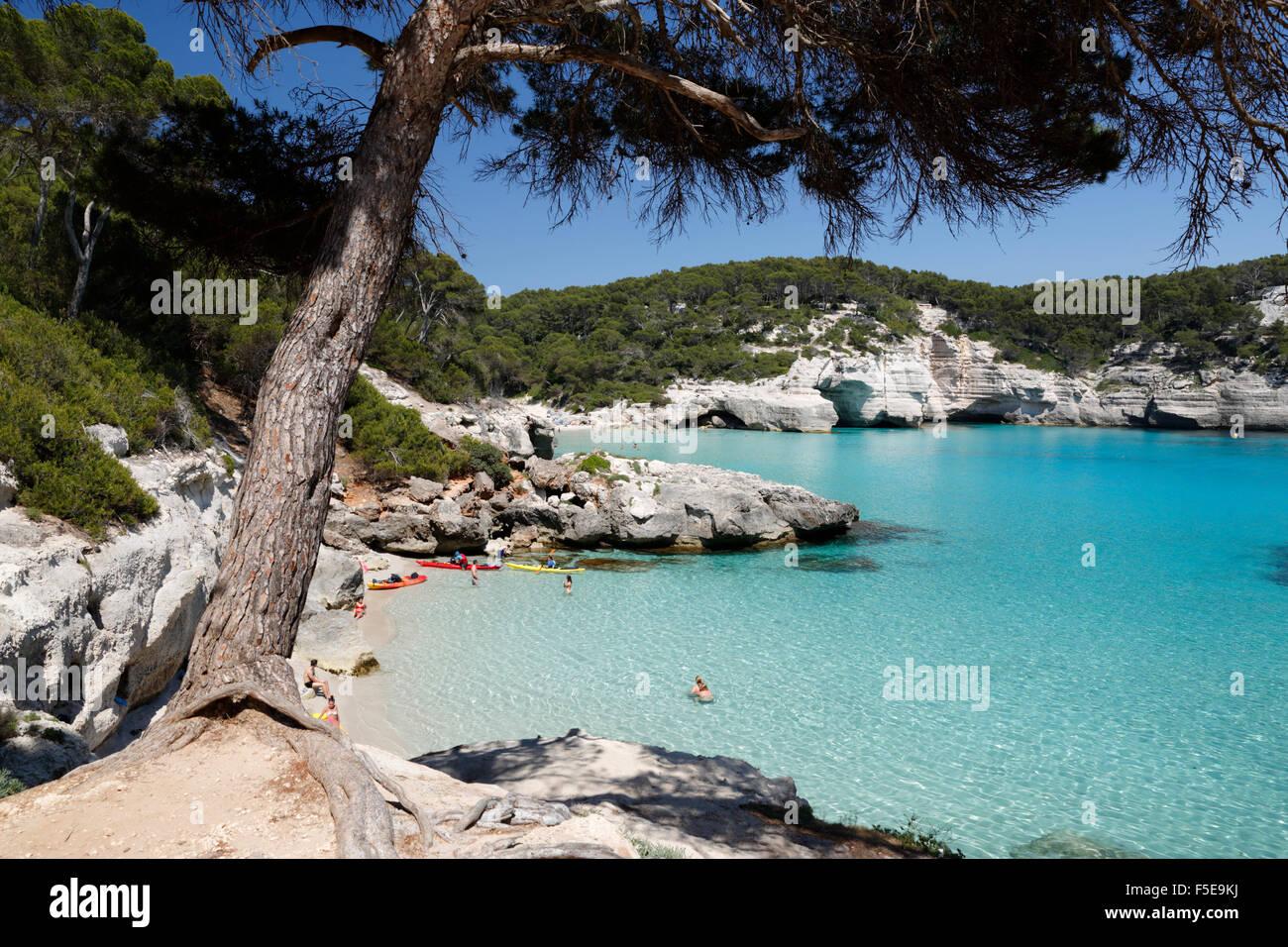 Cala Mitjana, near Cala Galdana, south west coast, Menorca, Balearic Islands, Spain, Mediterranean, Europe - Stock Image