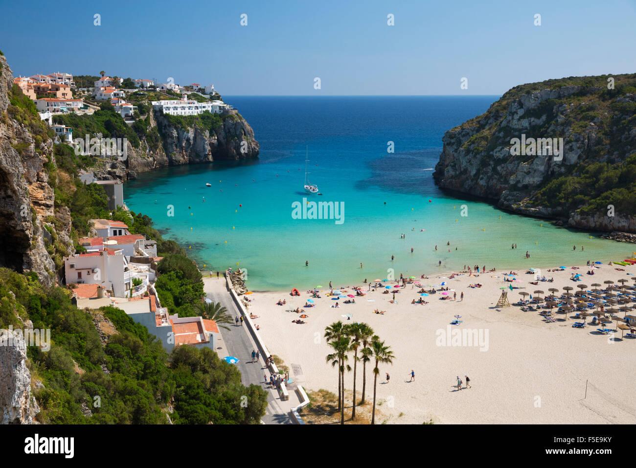 View over beach, Cala en Porter, south east Coast, Menorca, Balearic Islands, Spain, Mediteranean, Europe - Stock Image