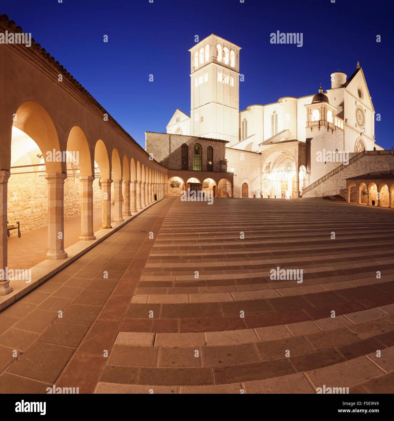 Basilica of San Francesco, UNESCO World Heritage Site, Assisi, Perugia District, Umbria, Italy, Europe - Stock Image