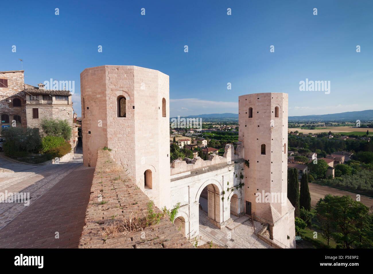 Porto Venere gate and Torri di Properzio Tower, Spello, Perugia District, Umbria, Italy, Europe - Stock Image