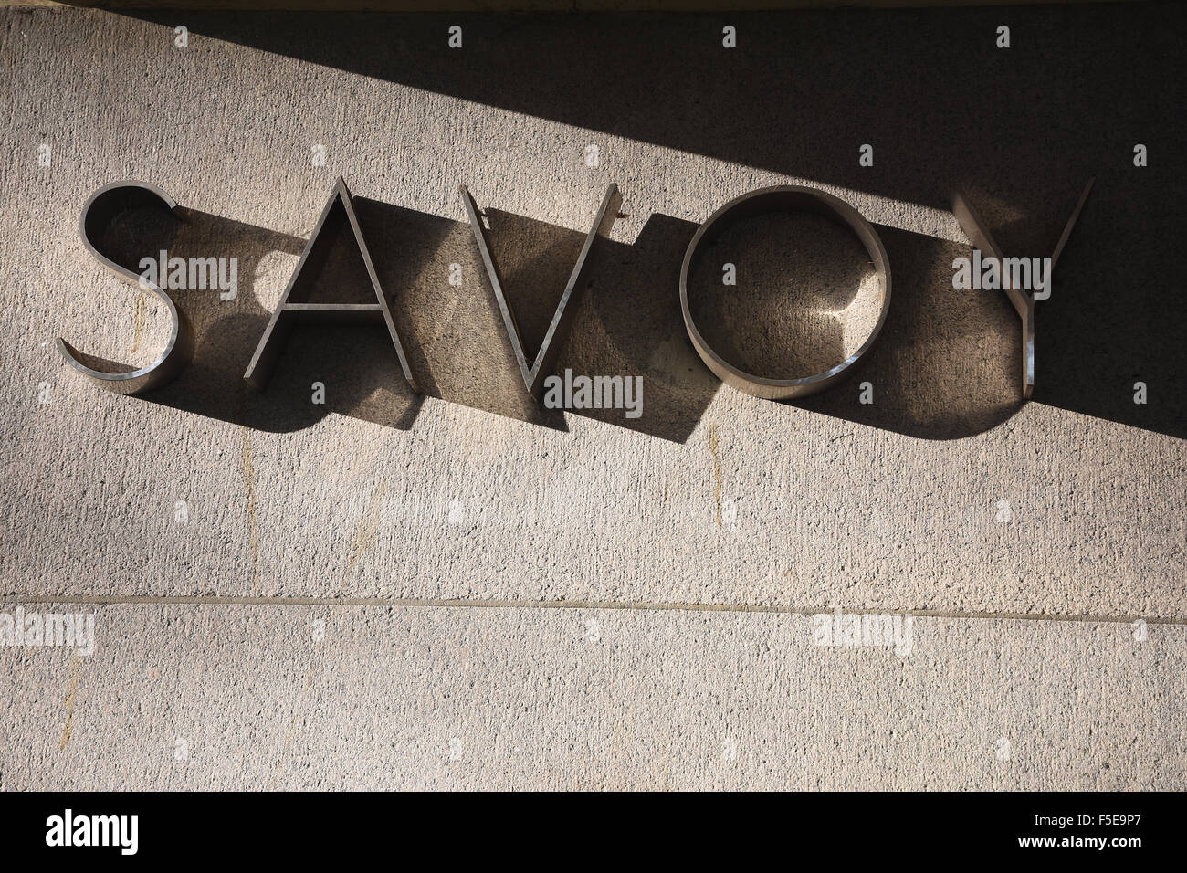 The Savoy Hotel Sign,Riverside Entrance,London - Stock Image