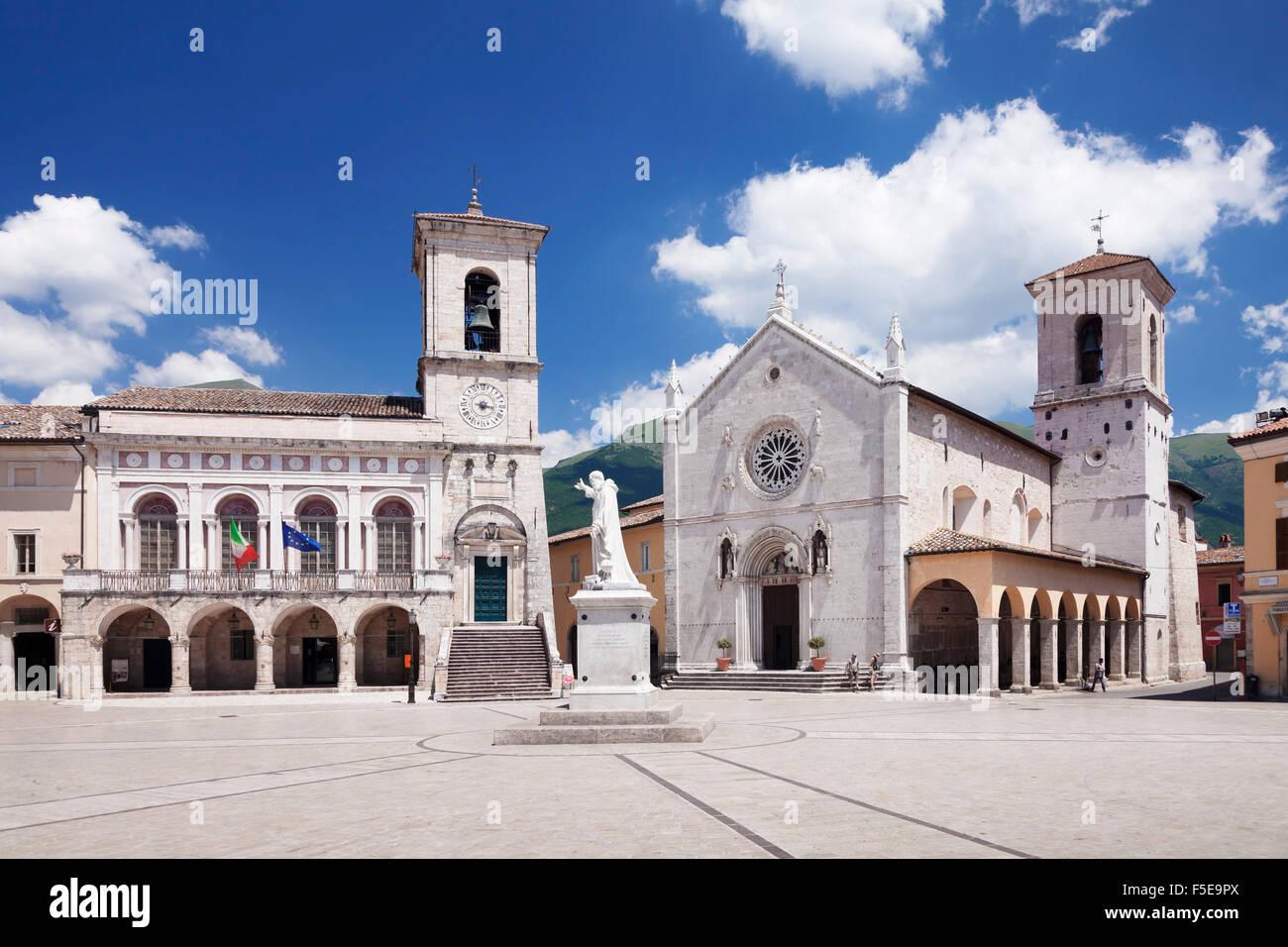 Piazza San Benedetto Square, Norcia, Monti Sibillini National Park, Perugia District, Umbria, Italy, Europe - Stock Image