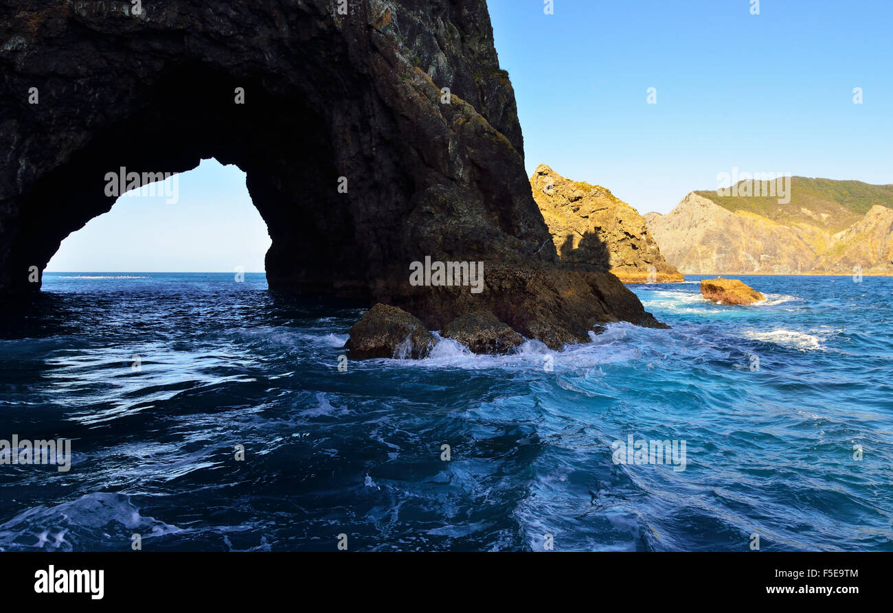 Hole In the rock where tourist boats take tourists  through the gap ,outer islands  Bay of Islands Northland New - Stock Image