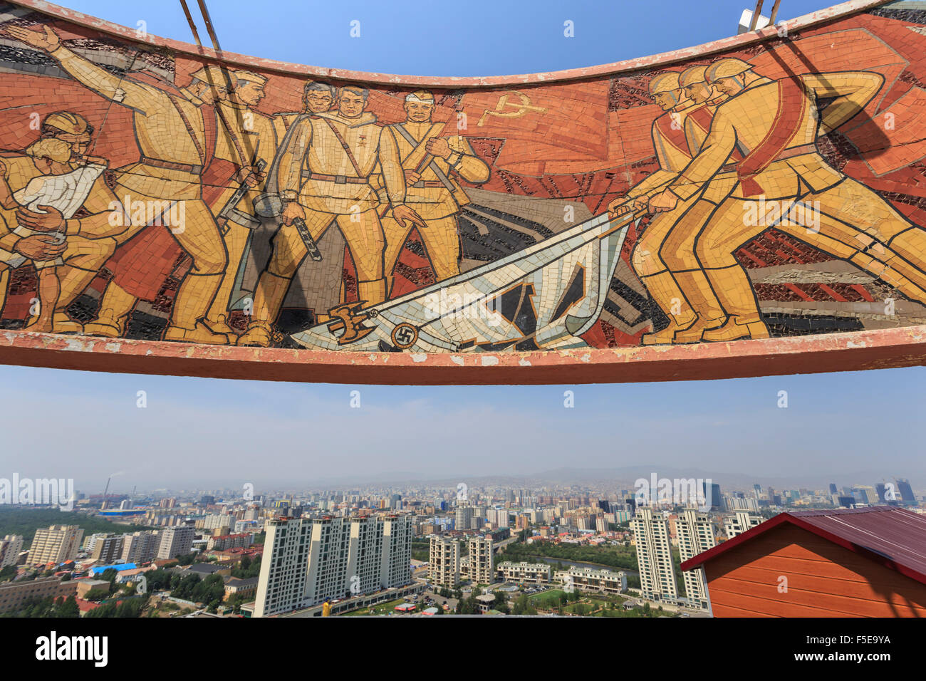 Elevated view of city, from Soviet era Memorial to Unknown Soldiers and Heroes, Zaisan Hill, Ulaanbaatar (Ulan Bator), - Stock Image