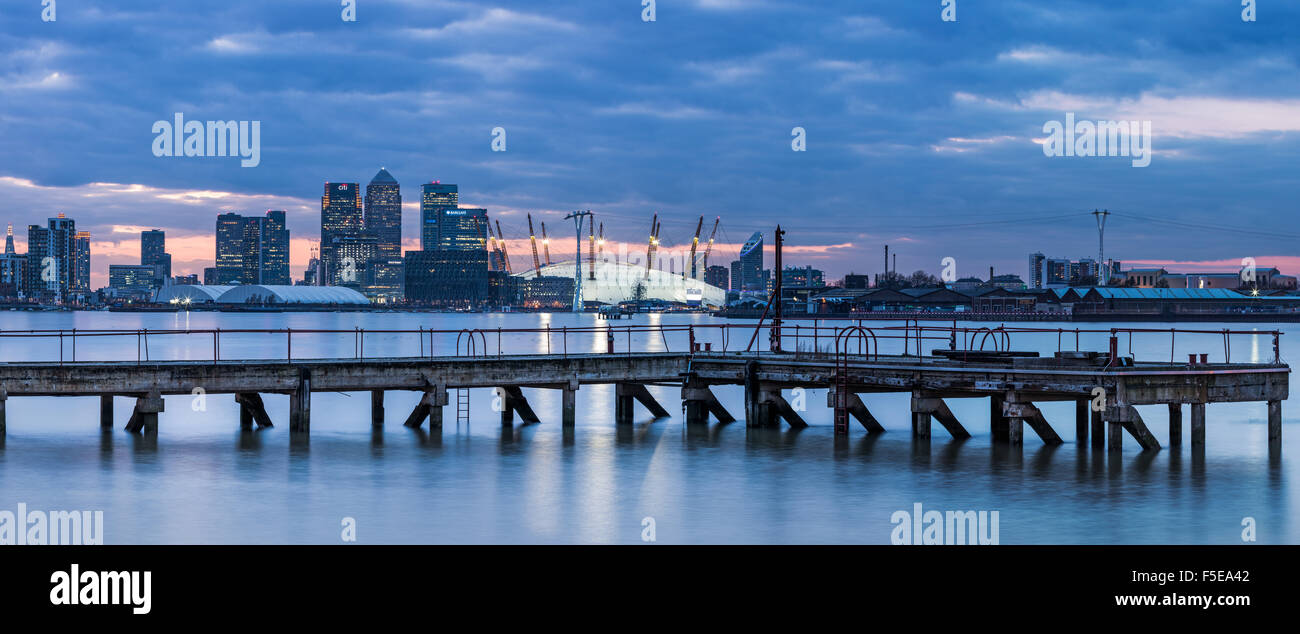 Canary Wharf from London Docklands, London, England, United Kingdom, Europe - Stock Image