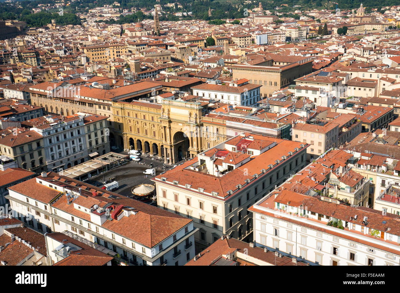 Aerial view from Giotto belltower of Piazza della Reppublica, Florence, Tuscany, Italy, Europe - Stock Image