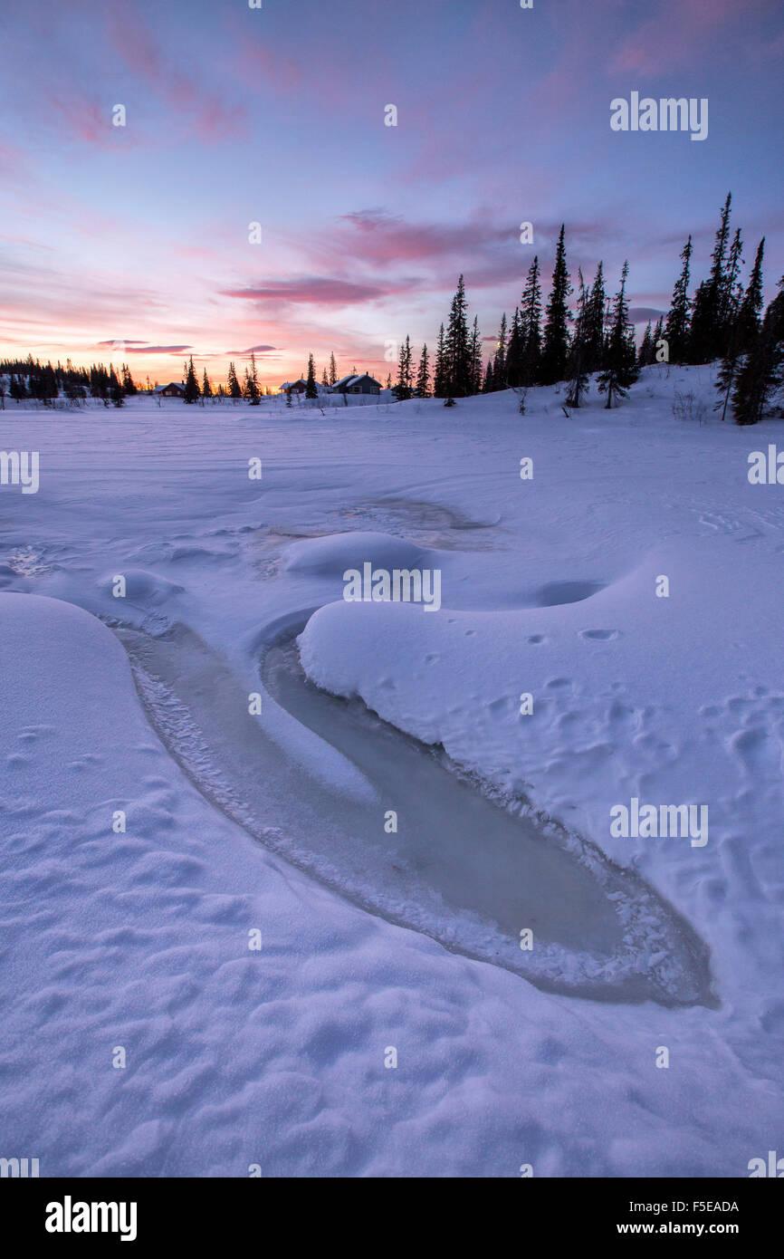 The sky turns pink at dawn, Rorvik, Borgefjell National Park, Trondelag, Norway, Scandinavia, Europe - Stock Image