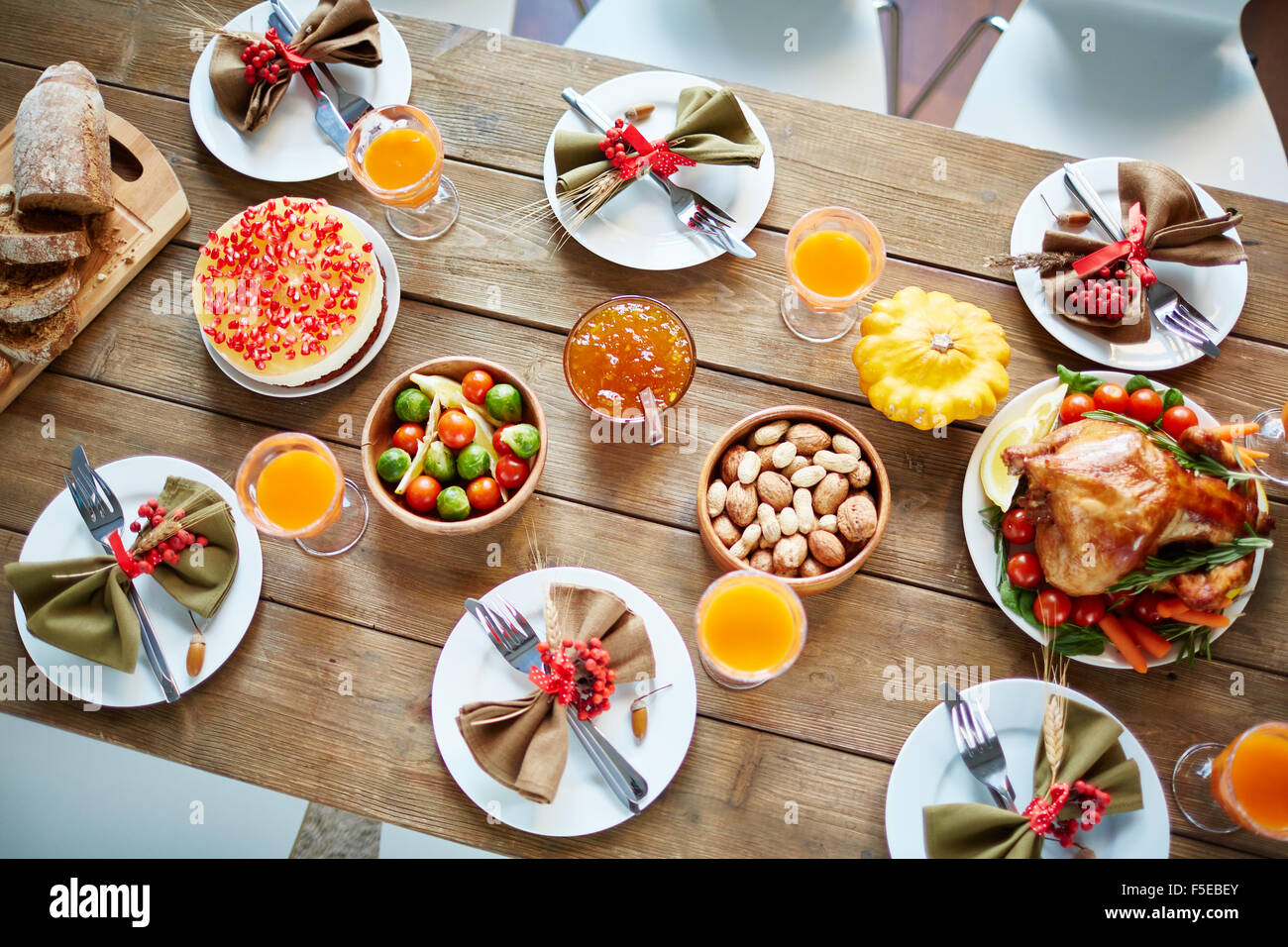 Traditional Thanksgiving Food On Festive Table Stock Photo 89441491