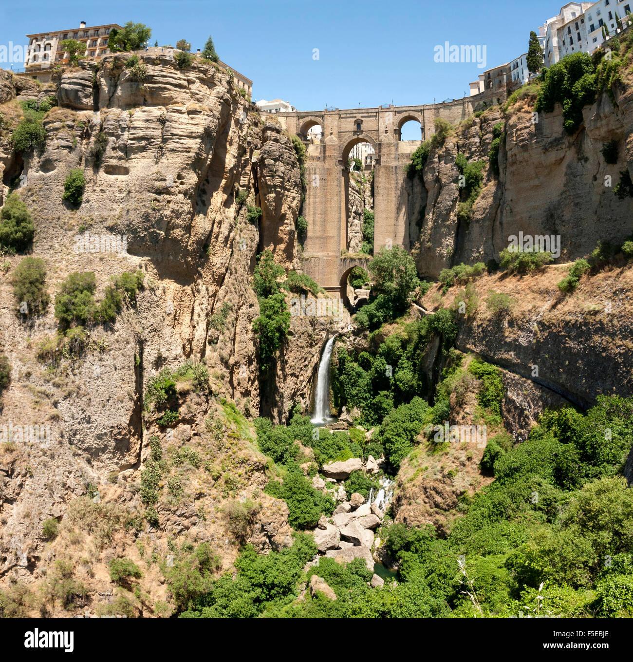 El Tajo gorge and the Puente Viejo, Ronda, Malaga province, Andalucia, Spain, Europe - Stock Image