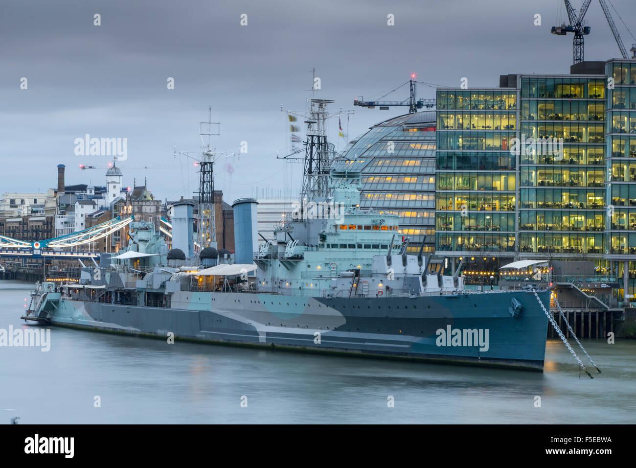 HMS Belfast and City Hall, London, England, United Kingdom, Europe - Stock Image