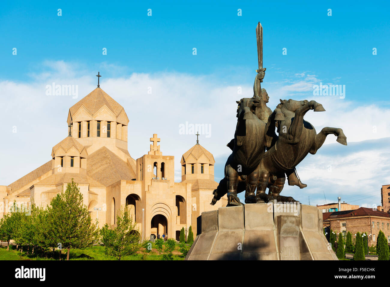 Statue of St. Grigor at St. Gregory the Illuminator Cathedral, Yerevan, Armenia, Caucasus, Central Asia, Asia - Stock Image