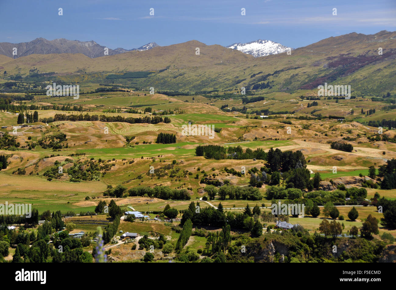 View of countryside from Alpine road, near Queenstown, New Zealand - Stock Image
