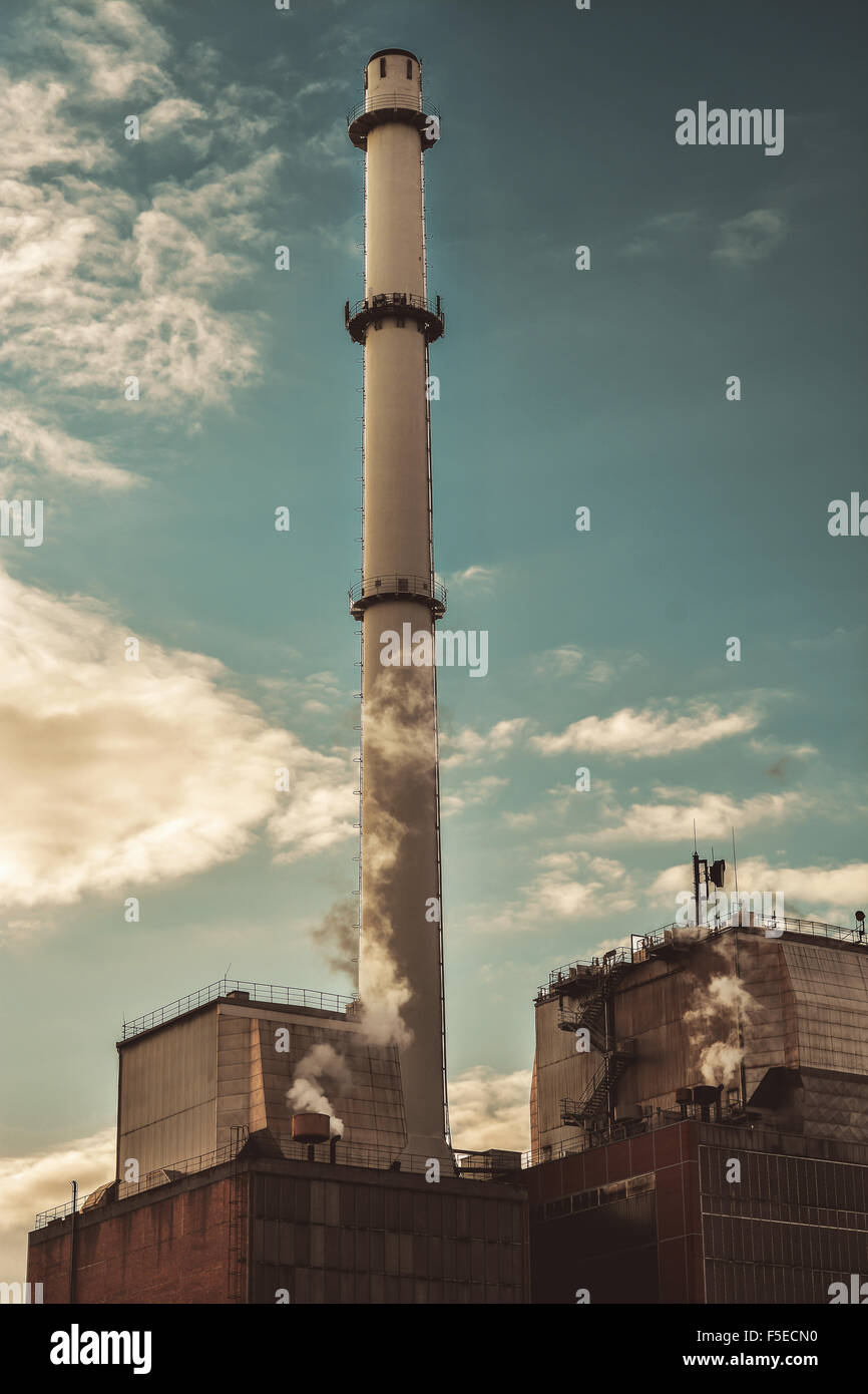 old factory smoke tower chimney - Stock Image