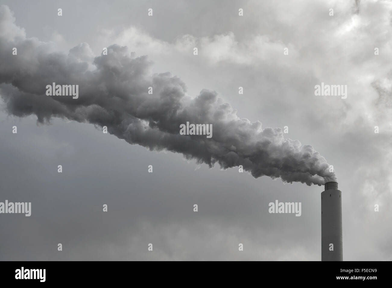 factory plant smoke in the sky - Stock Image