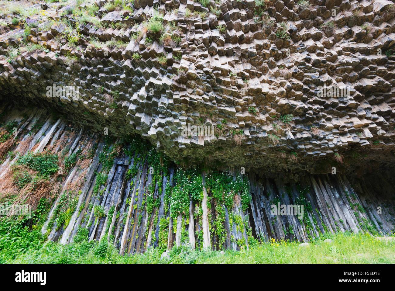 Symphony of Stones basalt columns, UNESCO World Heritage Site, Garni, Kotayk Province, Armenia, Caucasus, Central - Stock Image