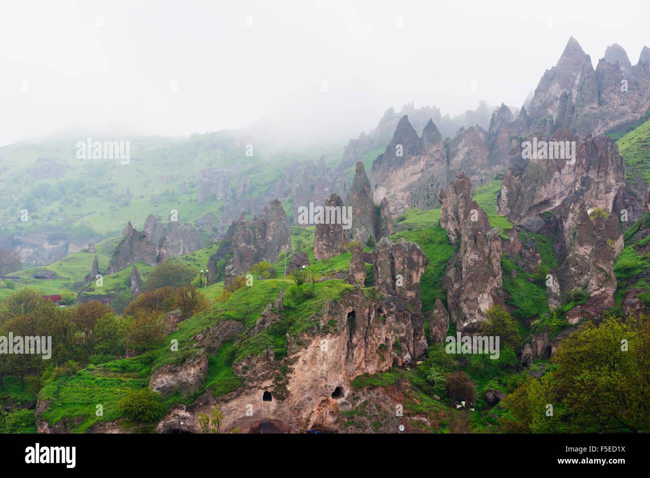 Sandstone rock formations, Syunik province, Armenia, Caucasus, Central Asia, Asia - Stock Image