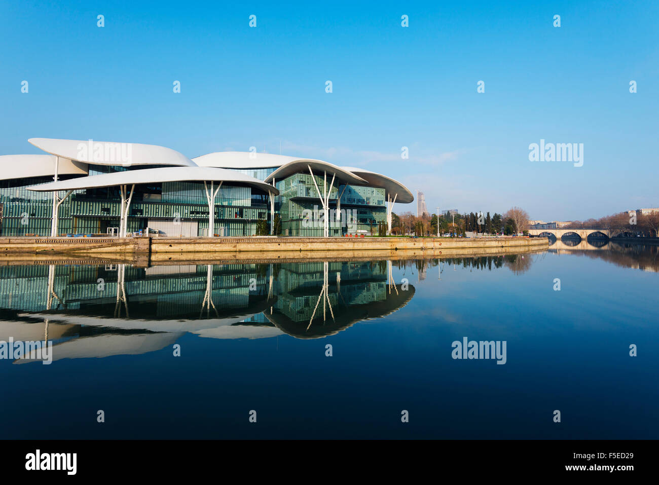 Public Service Hall, House of Justice on Mtkvari River, Tbilisi, Georgia, Caucasus, Central Asia, Asia - Stock Image