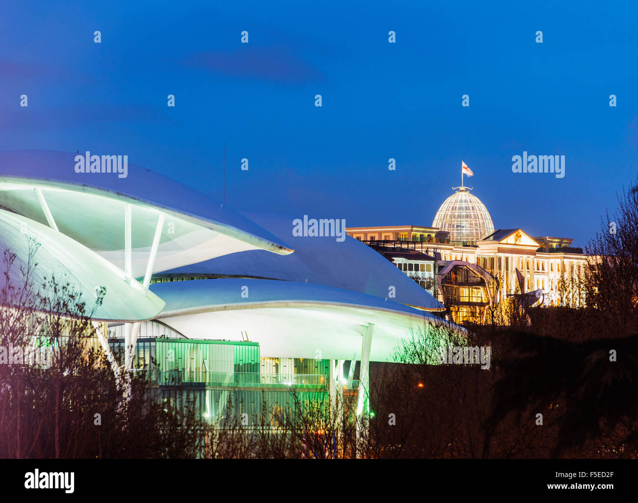 Public Service Hall, House of Justice and Presidential Palace, Tbilisi, Georgia, Caucasus, Central Asia, Asia - Stock Image
