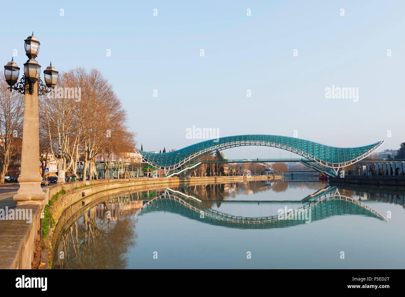 Bridge of Peace on Mtkvari River, Tbilisi, Georgia, Caucasus, Central Asia, Asia Stock Photo