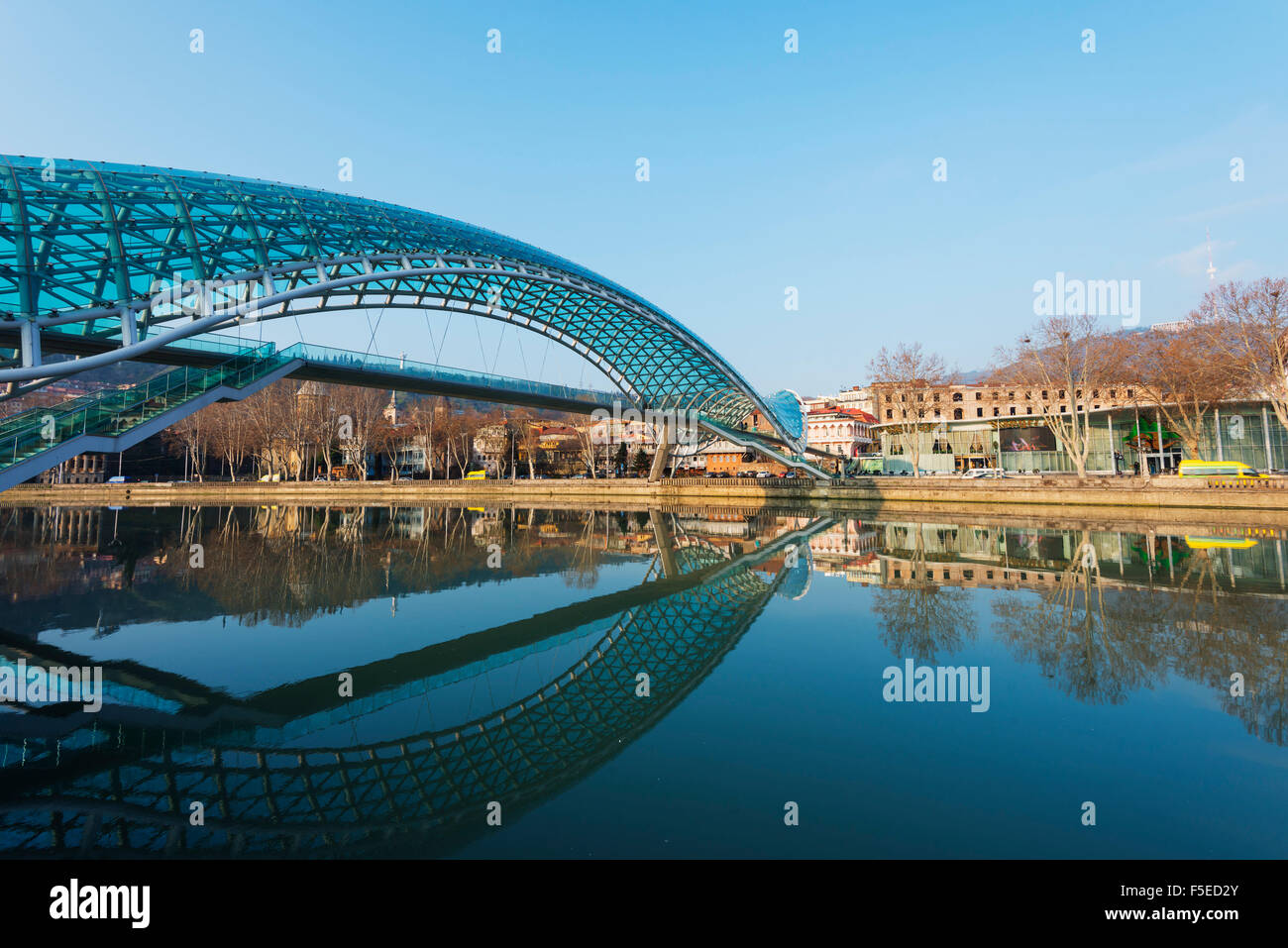 Bridge of Peace on Mtkvari River, Tbilisi, Georgia, Caucasus, Central Asia, Asia Stock Photo