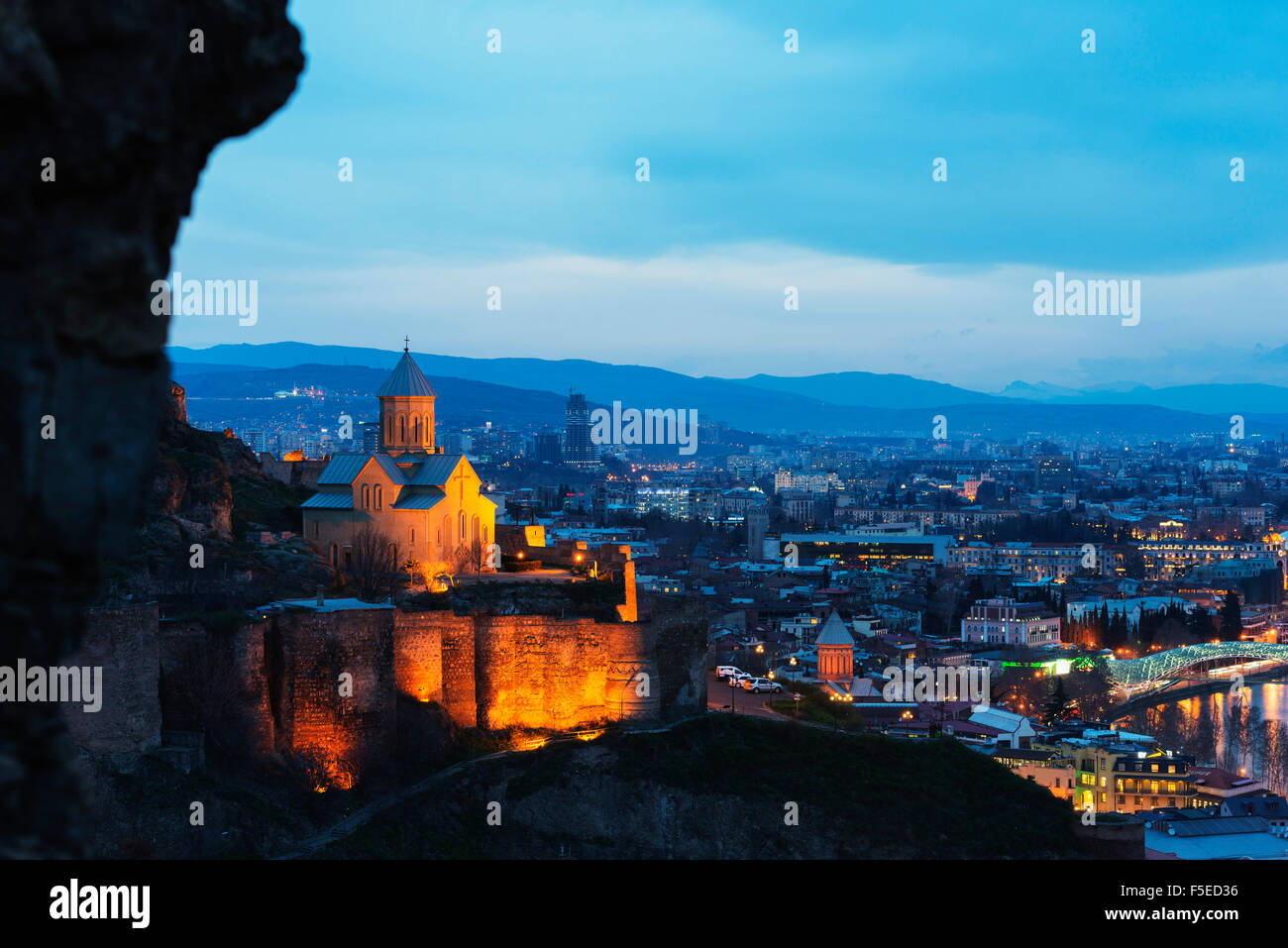St. Nicholas church on top of Narikala Fortress, Tbilisi, Georgia, Caucasus, Central Asia, Asia - Stock Image