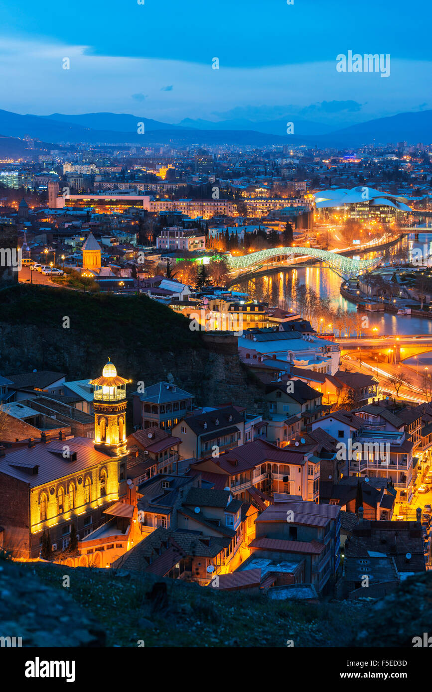 Bridge of Peace and Public Service Hall House of Justice on Mtkvari River, Tbilisi, Georgia, Caucasus, Central Asia, - Stock Image