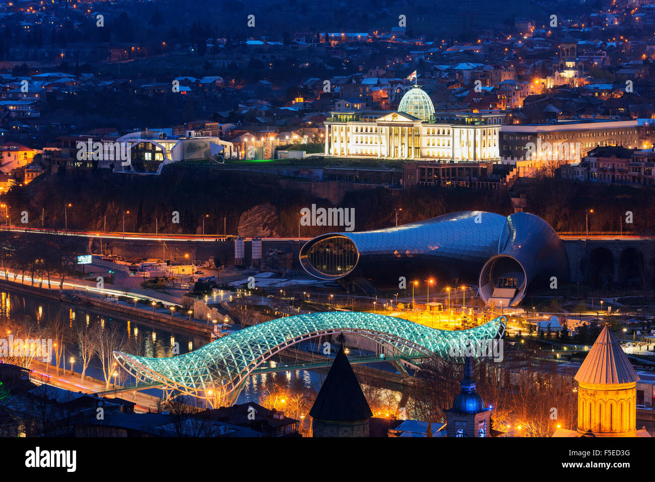 City view including Presidential Palace, Bridge of Peace on Mtkvari River. Tbilisi, Georgia, Caucasus, Central Asia, Stock Photo
