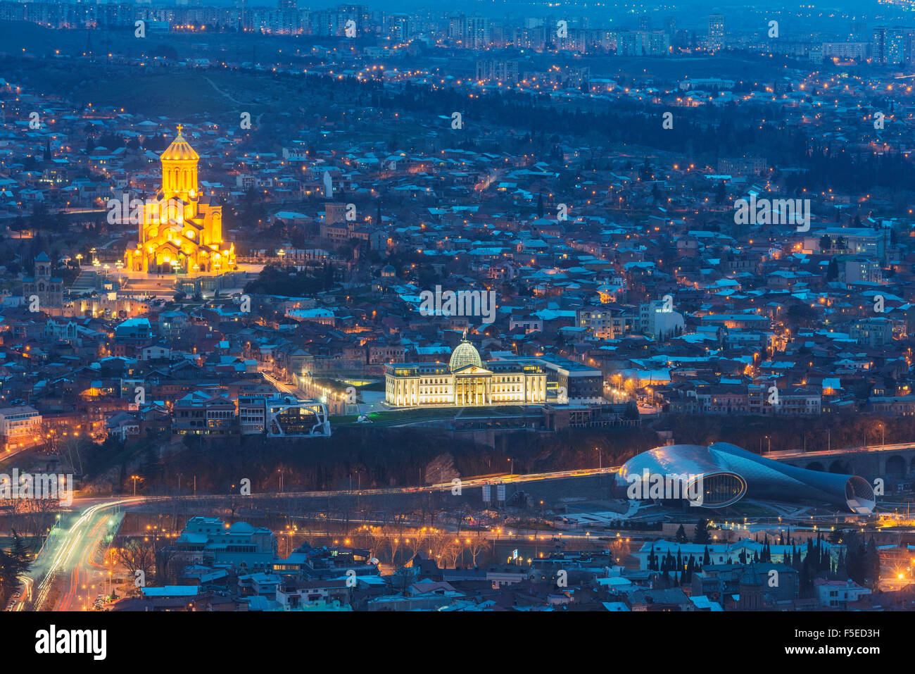 Presidential Palace and Tbilisi Sameda Cathedral (Holy Trinity) biggest Orthodox Cathedral in Caucasus, Tbilisi, Stock Photo