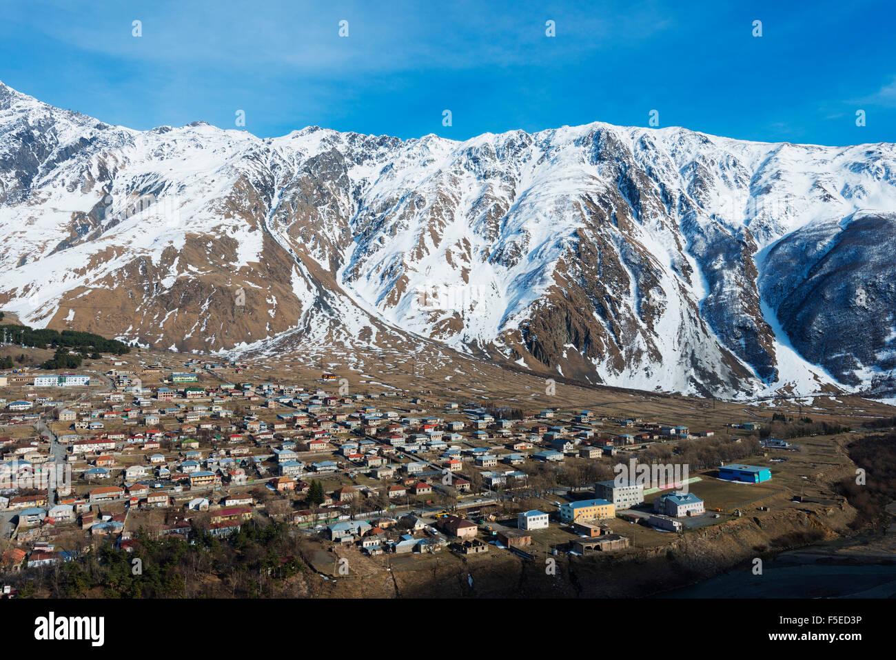 Stepantsminda, Kazbegi, Georgia, Caucasus region, Central Asia, Asia - Stock Image