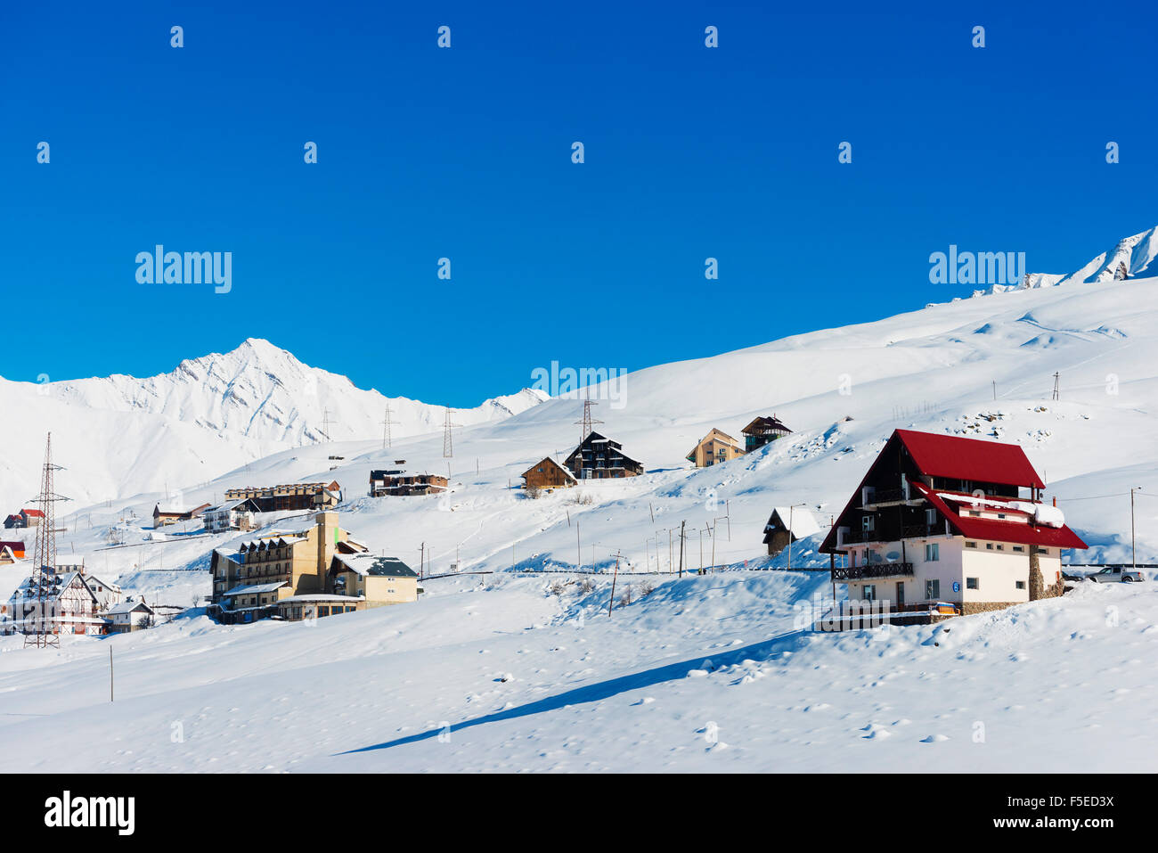Gudauri ski resort, Georgia, Caucasus region, Central Asia, Asia - Stock Image