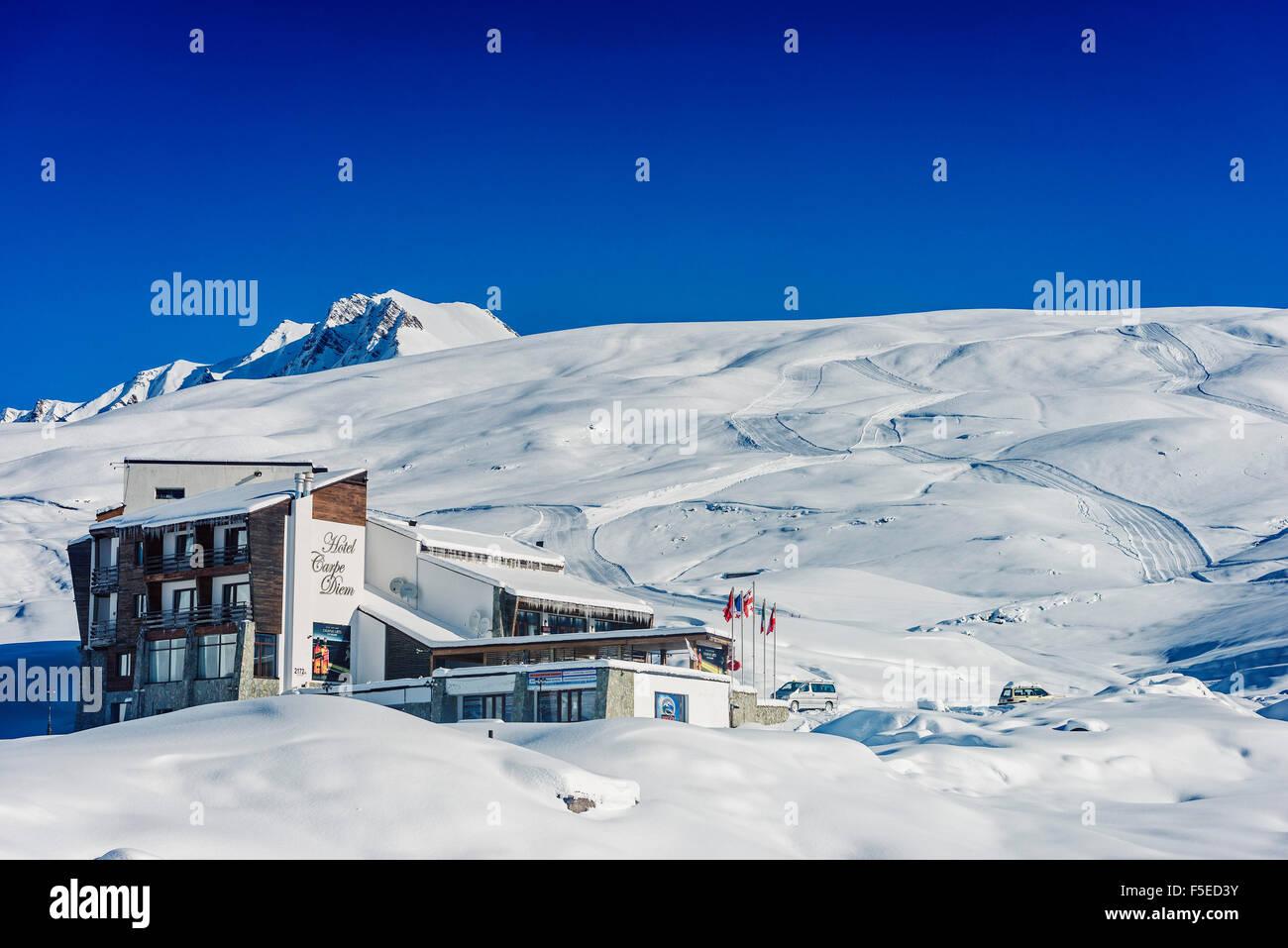 Gudauri ski resort, Georgia, Caucasus region, Central Asia, Asia - Stock Image