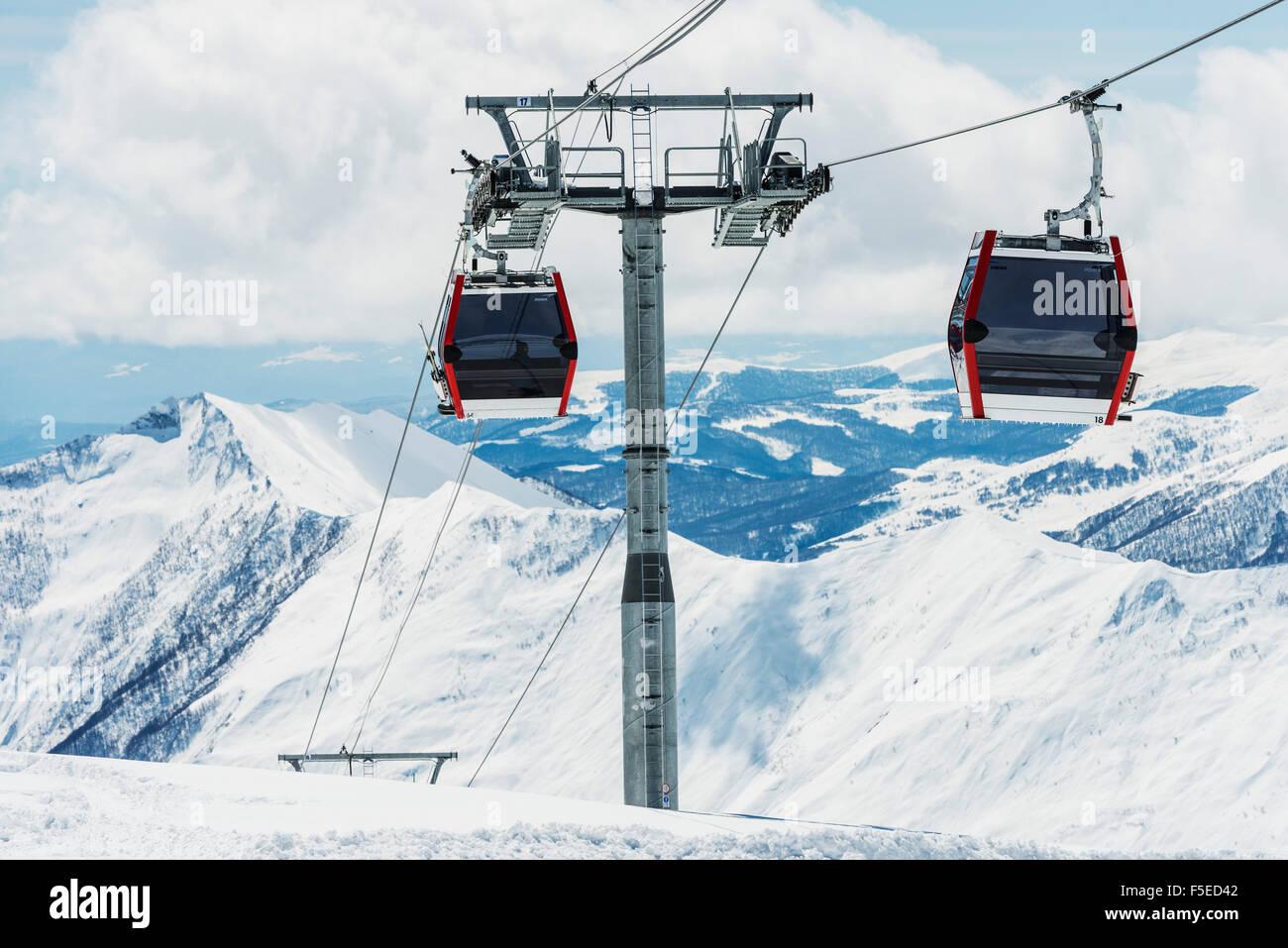 Gondola lift, Gudauri ski resort, Georgia, Caucasus region, Central Asia, Asia - Stock Image