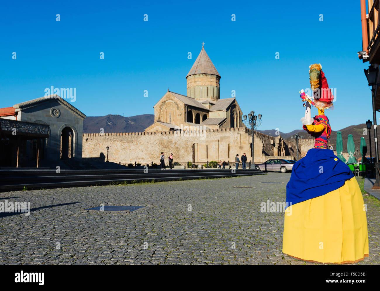 Local artisan doll display, Svetitskhoveli Cathedral, 11th century, by Patriach Melkisedek, Mtskheta, Georgia, Caucasus, - Stock Image