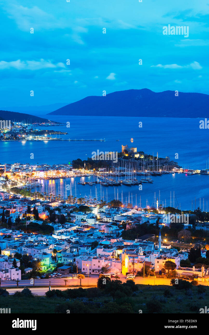 The 15th century Bodrum castle and marina, Bodrum, Aegean coast, Mediterranean Region, Anatolia, Turkey, Asia Minor, - Stock Image