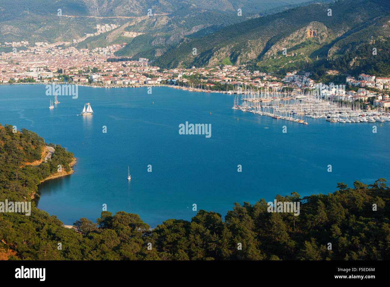 Boats in harbour, Fethiye, Aegean Turquoise coast, Mediterranean region, Anatolia, Turkey, Asia Minor, Eurasia - Stock Image