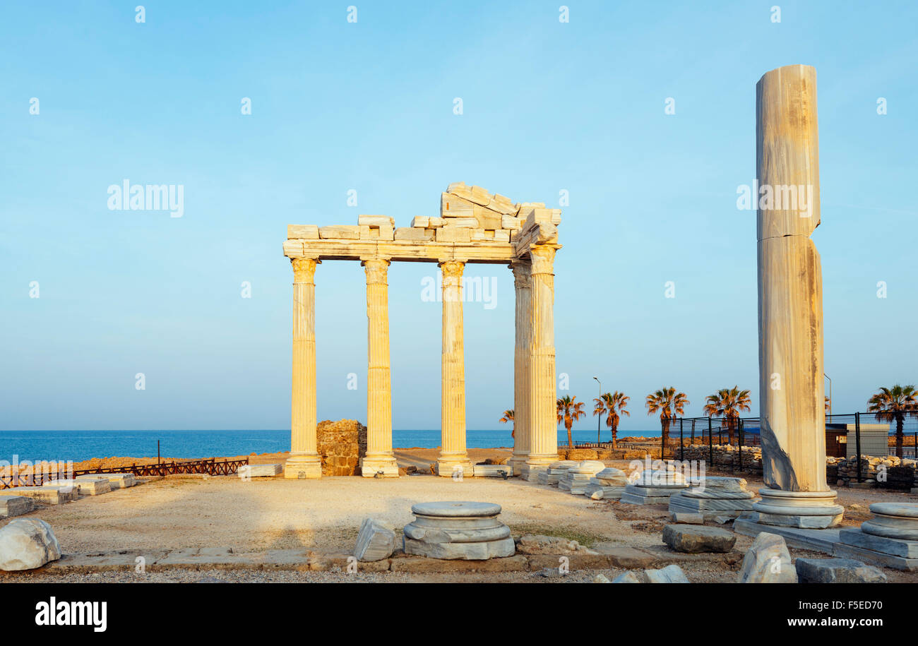 The second century Temple of Apollo and Athena, Side, Lycia, Turquoise Coast, Mediterranean Region, Anatolia, Turkey, - Stock Image