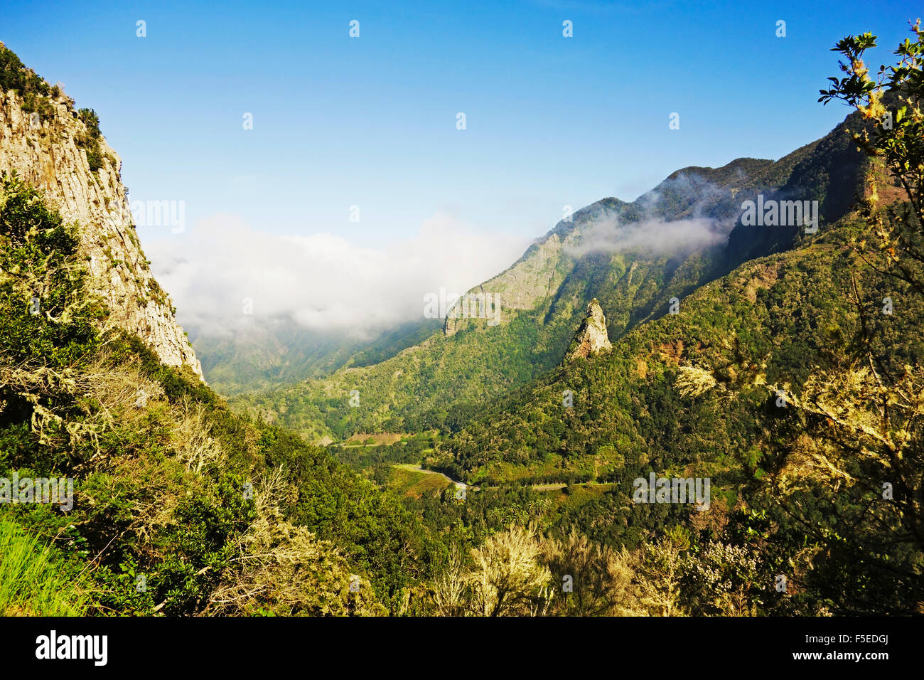 Valle de Hermigua, Parque Nacional de Garajonay, UNESCO World Heritage Site, La Gomera, Canary Islands, Spain, Europe - Stock Image