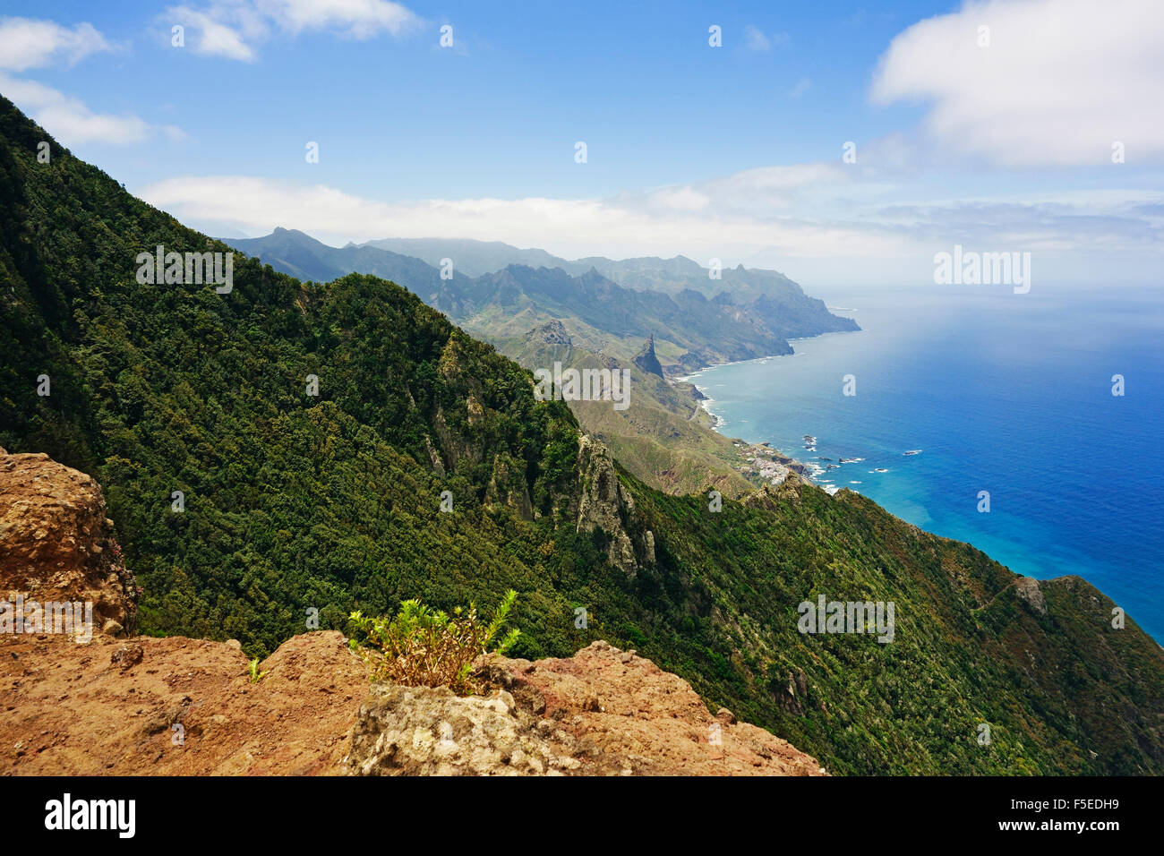 Anaga Mountains and Costa Adeje, Tenerife, Canary Islands, Spain, Atlantic, Europe - Stock Image