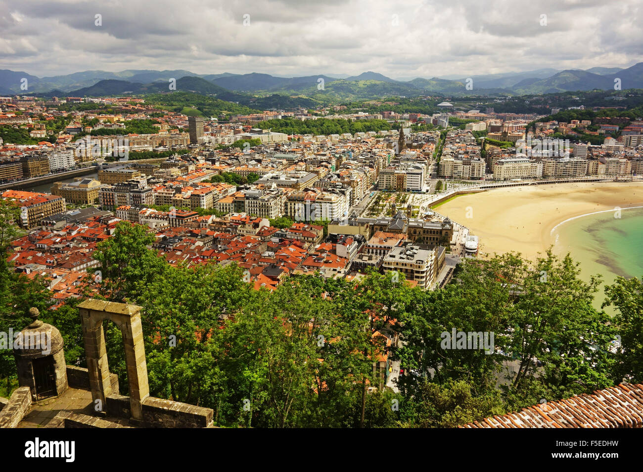 View of San Sebastian from Monte Urgull, Basque Country, Spain, Europe - Stock Image