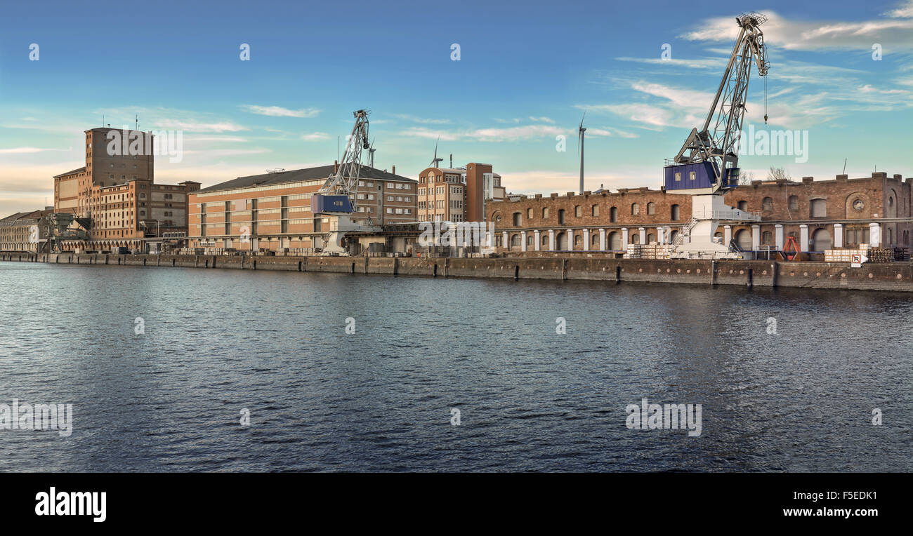 inland industrial river port on the rine - Stock Image