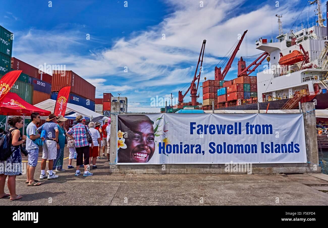 Farewell from Port of Honiara Solomon Islands - Stock Image
