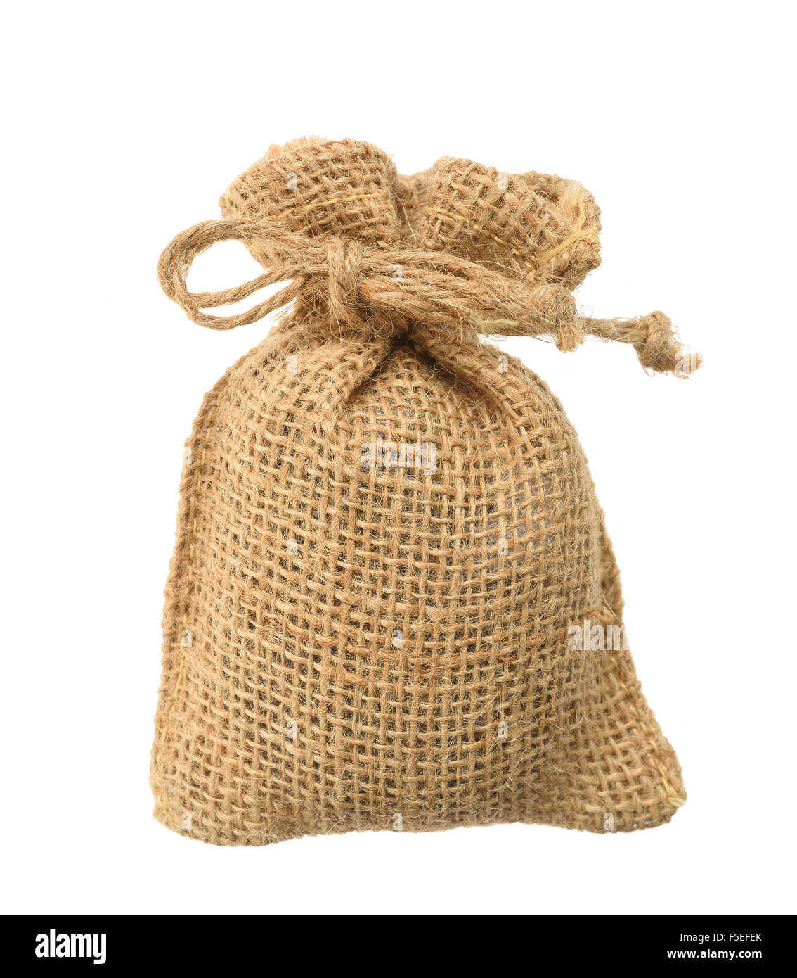 Hessian sack with ties forming over white background - Stock Image