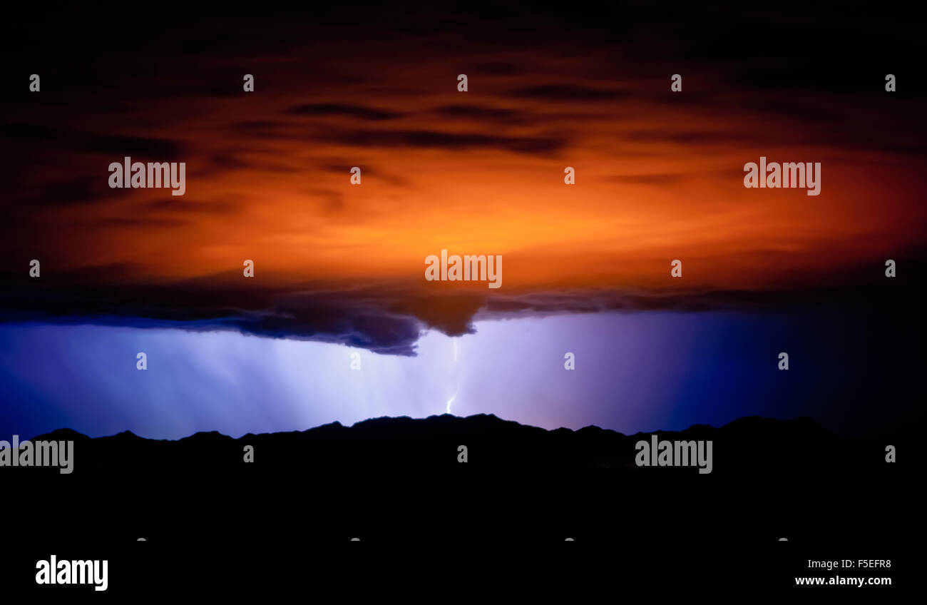 Funnel clouds and lightning during the monsoon, Arizona, America, USA - Stock Image